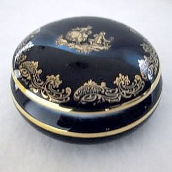 Limoges Porcelain Deep Blue Powder Box