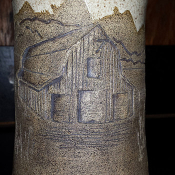 Vase with incised barn scenery - Art Pottery