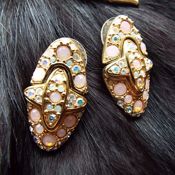 Blush / Aurora Borealis Swarovski Earrings and Brooches - Costume Jewelry