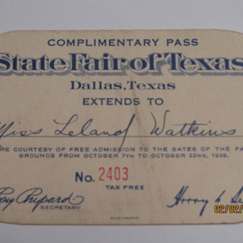 1939 Texas State Fair Ticket..