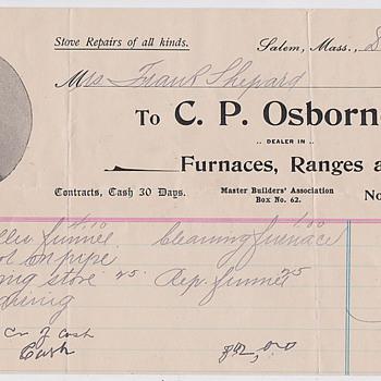 C.P Osborne stove repair recites 1898