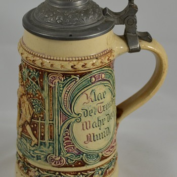 Small Unknown Stein Germany with Metal Lid - Breweriana