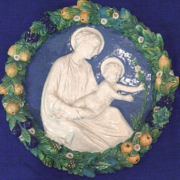 Della Robbia Italian Ceramic Madonna and Child - Pottery