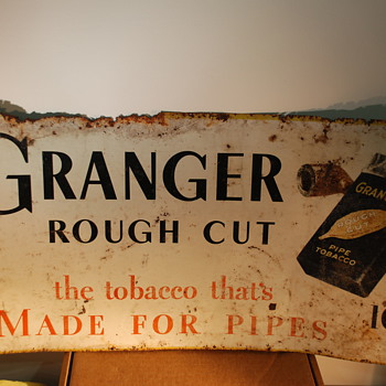 Nice old Tobacco Tin Sign GrangerRough Cut - Tobacciana