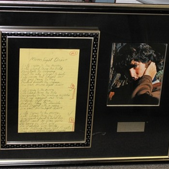 Jim Morrison Hand Written Lyrics to Moonlight Drive - Music Memorabilia