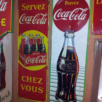 Two Canadian 1950's Vertical Signs - Coca-Cola