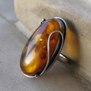 3 amber and sterling rings