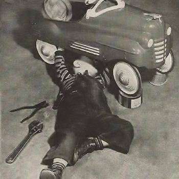 Little Mechanic at work Photo 1950's  - Photographs