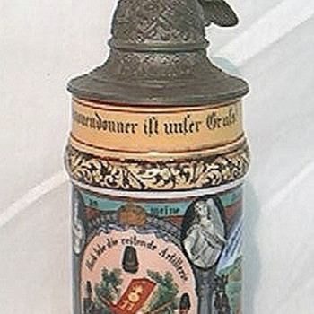 Imperial German beer Stein of a Prussian Mounted Artilleryman  - Breweriana