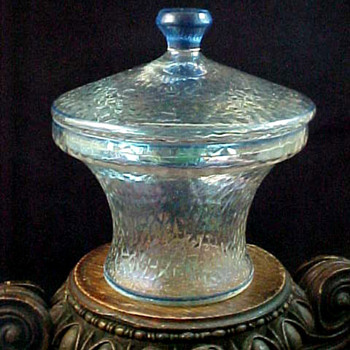 Bohemian Kralik Martele Lidded Jar with Blue Pinstripe Accents - Art Glass