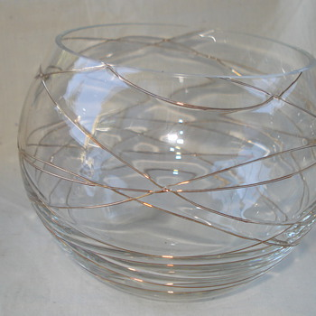 GLASS BOWL WITH GOLD SWIRLS ?