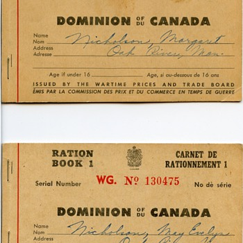 Canadian WW II ration books - Military and Wartime
