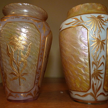 Kralik Art Nouveau cameo panel vases - Art Glass