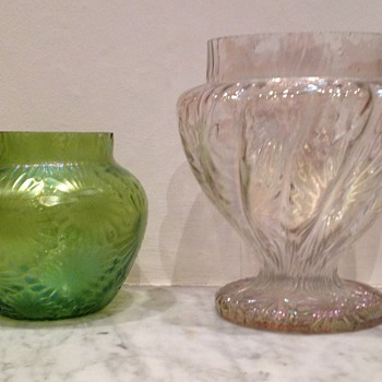 Pair of leaf decor iridescent vases