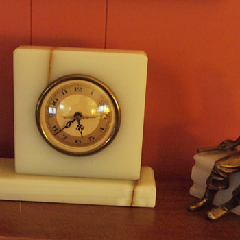 Rare Whitehall Hammond and J B Hirsch Pirate / Soldier with a Sabre, figure Clock with Bookend, 1932 designed by J Ruhl