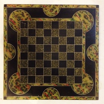 Antique 1800's Slate Multi-Colored Chess Board.
