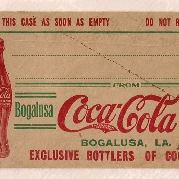 c.1920 Bottle Shipping Case Address Tag, Bogalusa, LA - Coca-Cola