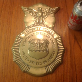 Obsolete Brass Air Force Security Police Building Emblem