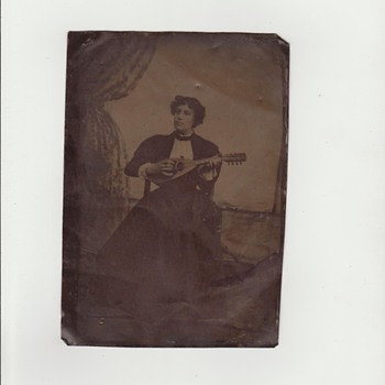 Large Tintype of Woman Playing Stringed Instrument