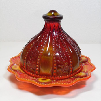 Summit Glass ~ Beaded Holly Covered Condiment ~ Sunset Slag