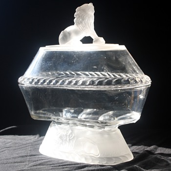 Frosted Lion Pattern Lidded Compote - Glassware