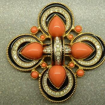 D'Orlan Faux Coral Swarovski Crystal Black Enamel Goldtone Pendant - Costume Jewelry