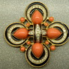D'Orlan Faux Coral Swarovski Crystal Black Enamel Goldtone Pendant