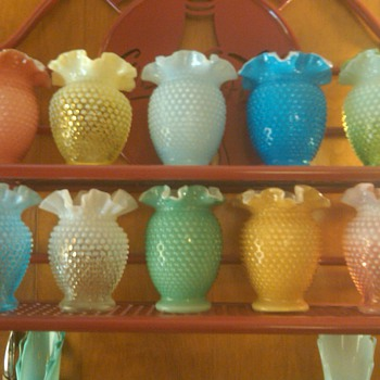 collection of Fenton 6 inch hobnail vases - Glassware