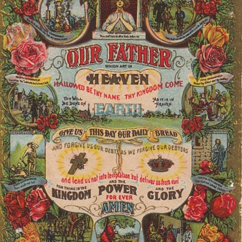 Victorian Lithograph Lord&#039;s Prayer - Victorian Era
