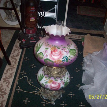 Purple hand painted table lamp