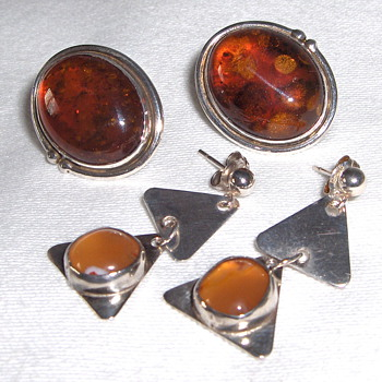 2 Vintage Sterling Silver Pairs of Natural Amber Stones Marked - Fine Jewelry