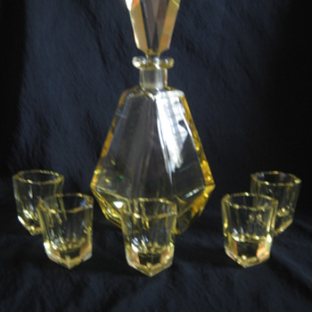 Gorgeous Karel Palda Art Deco Decanter Set Radiant Bohemian Crystal - Art Glass