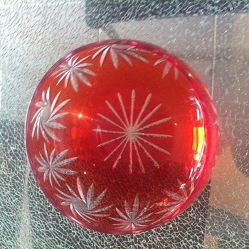 Ruby red cut crystal glass bowl - English purchased - beautiful colour