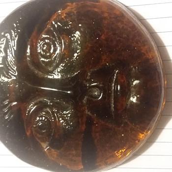 Amber face paperweight - Art Glass