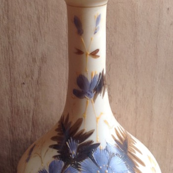 Ivory coloured glass vase