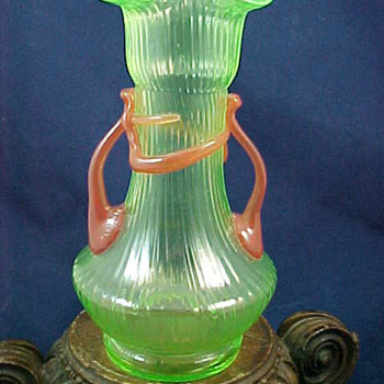 KRALIK RIBBED VASELINE GLASS - Art Deco