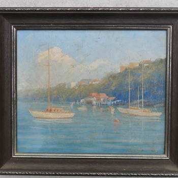 1940s Oil Painting Sydney Harbour Inlet Scene by Stephen Sims - Visual Art
