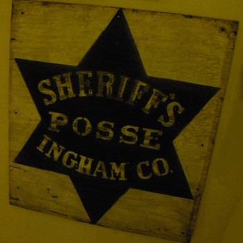 "Wooden ""Ingham County Sheriff's Posse"" Sign"