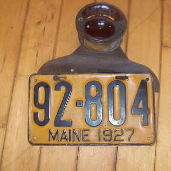 1927 Hubmobile License plate and red Lamp Original- Admiral Bird's vehicle