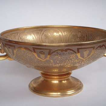 Large gold leafed Porcelain bowl~faces on handles, extensive Incised design~Art Nouveau Style