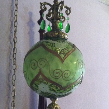 Green Glass Globe Swag Lamp