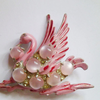 Vintage Pink Swan Brooch 1940's Moonstone and Rhinestone Coro - Costume Jewelry