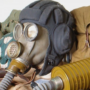 Russian tank commander helmet & communications gasmask - Military and Wartime