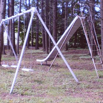 Antique School Playground 16' Bent Wood EverWear Childrens Slide Kids Swing Set