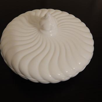 Fostoria milk glass candy box & lid - Glassware