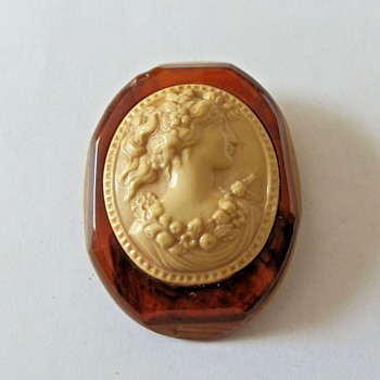 Large Bakelite and Possible Lucite or Celluloid Cameo