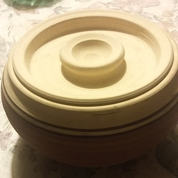 Unfinished clay pot with signature - Art Pottery