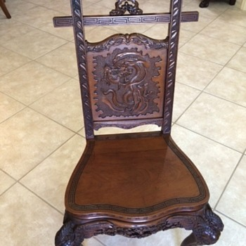 Antique Oriental Hand Carved Chair Dragon Motif Circa 1800s