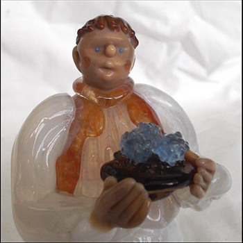 Bohemian Glass Waiter Figure - Art Glass