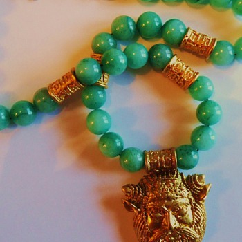 Jade necklace with Greek Goat God Pan, from thrift store auction